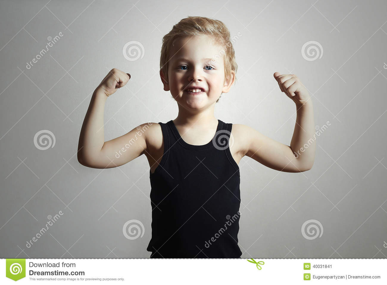 Strong Child. Funny Little Boy. Sport Handsome Boy