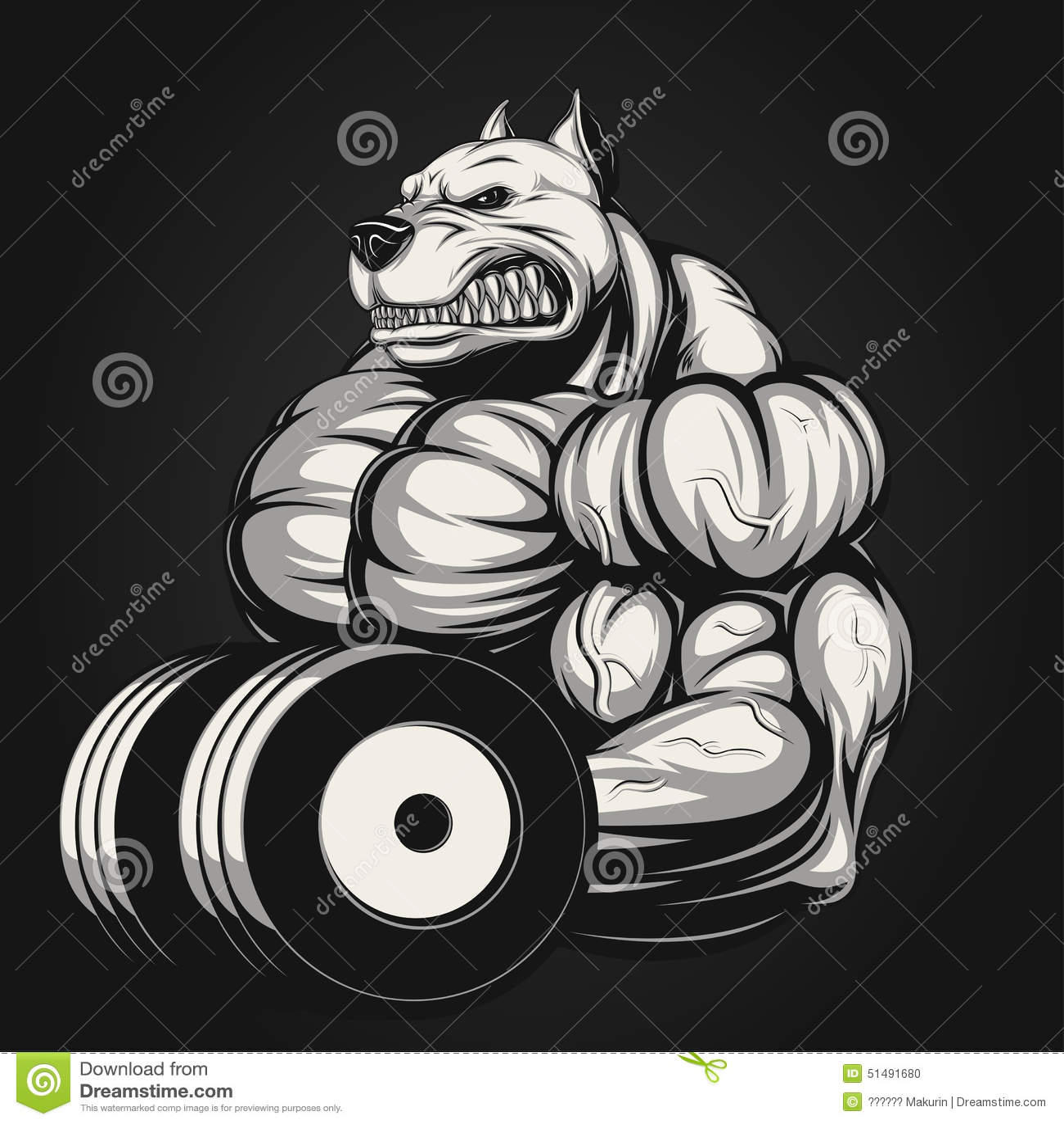 Dumbbell Icon Vector Strong dog stock vecto...