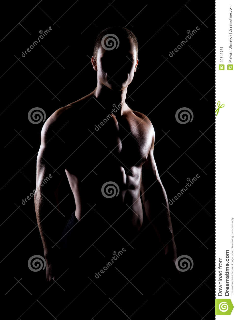 Strong, Fit And Sporty Bodybuilder Man Over Black ...
