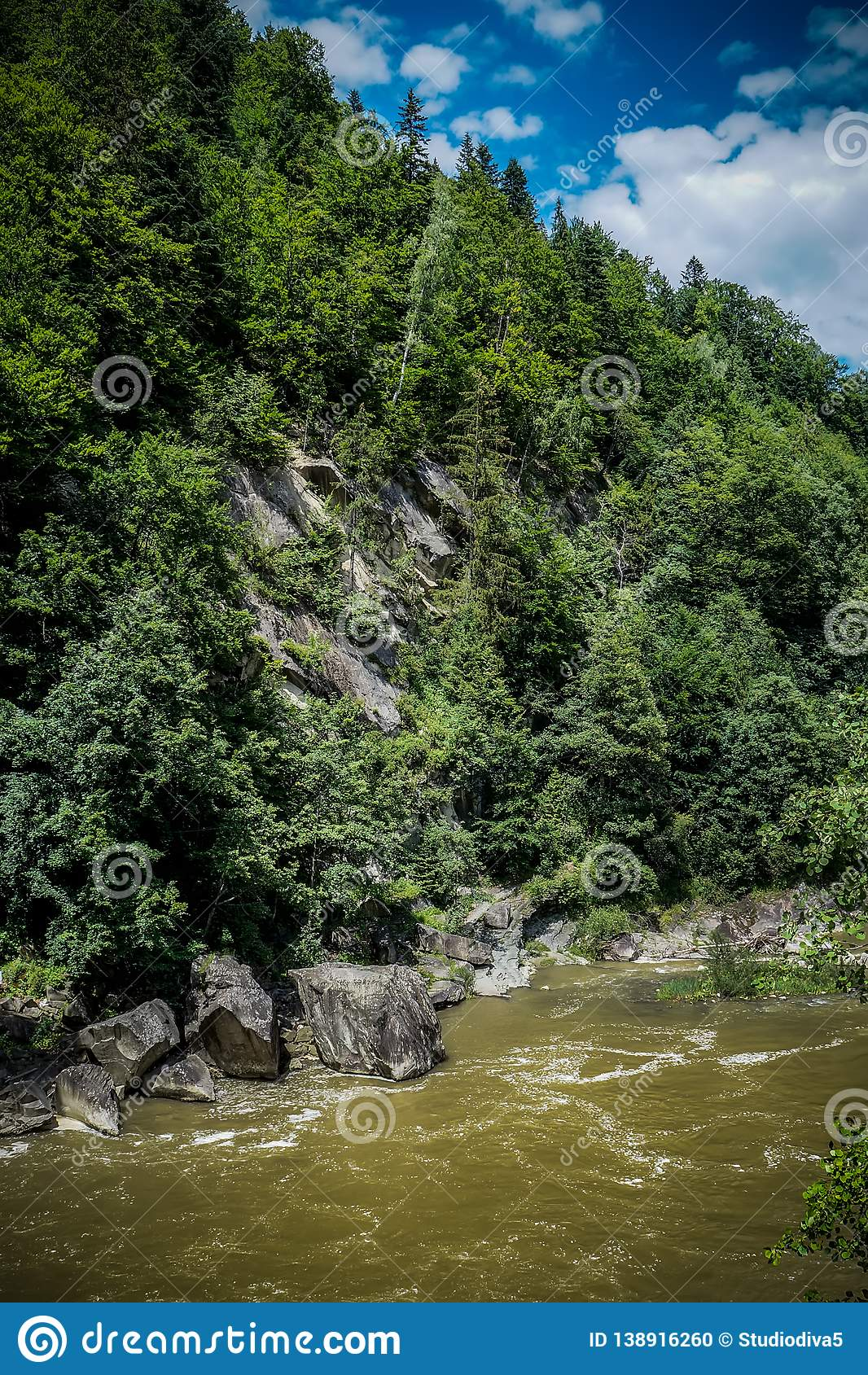 Strong flow and boiling of water in mountain river with splashes. Fast stream in the Carpathians, Ukraine. Stones in a mountain