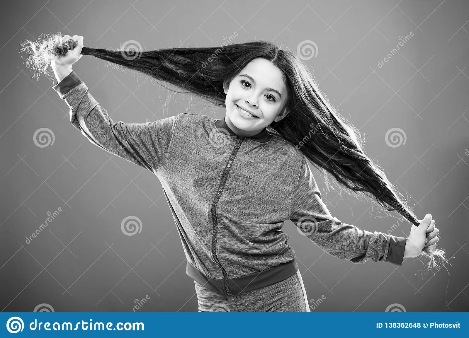 Strong hair concept. Kid girl long healthy shiny hair. Main thing is keeping it clean. Use gentle shampoo and warm water