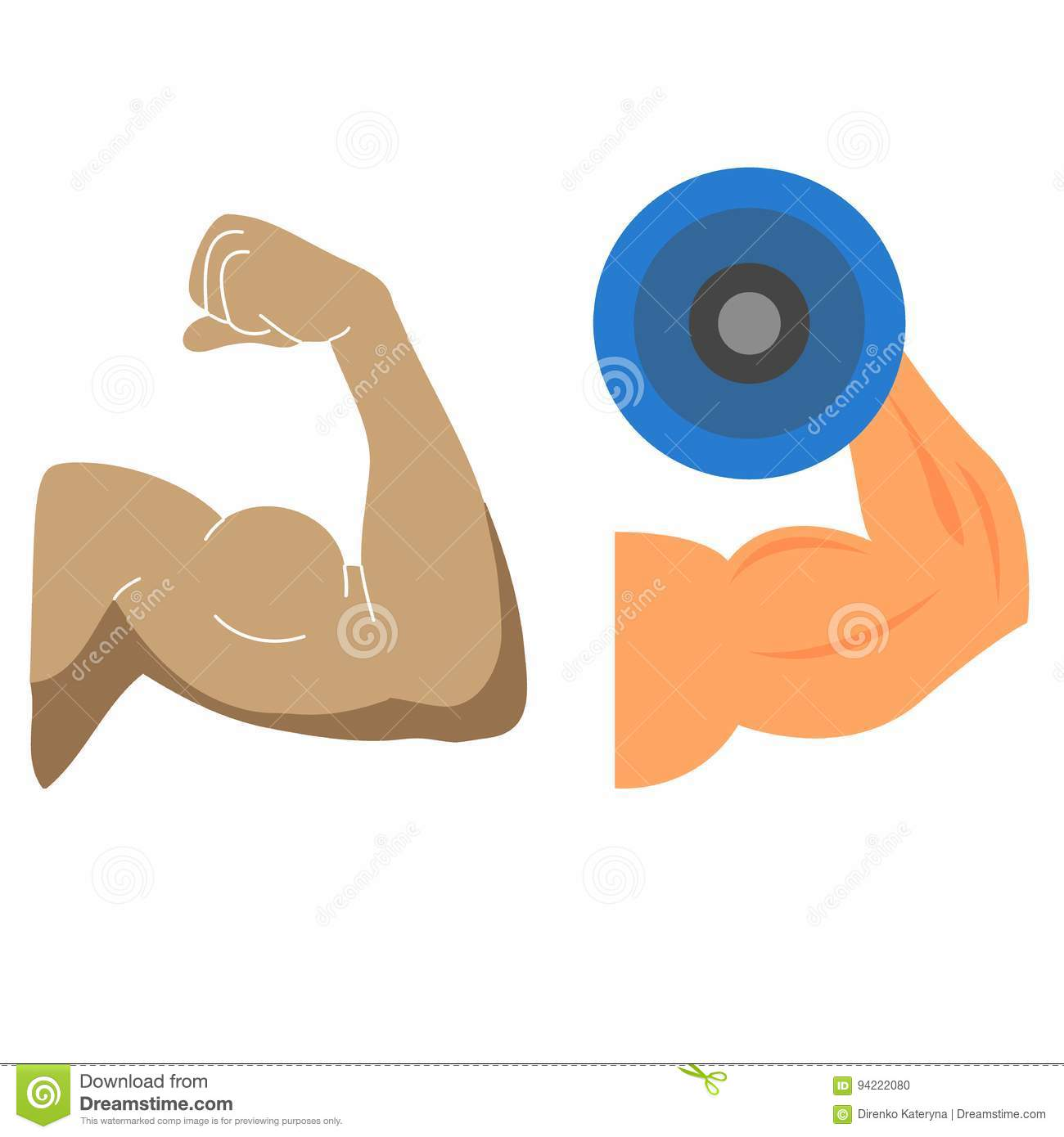 Strong Hand Muscles And Bicep Stock Illustration Illustration Of