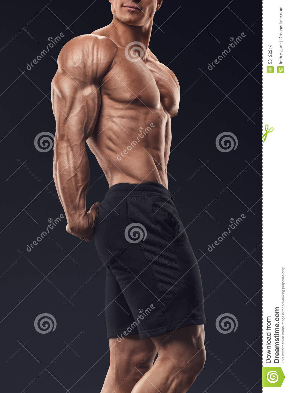 Strong And Handsome Young Bodybuilder Demonstrate His
