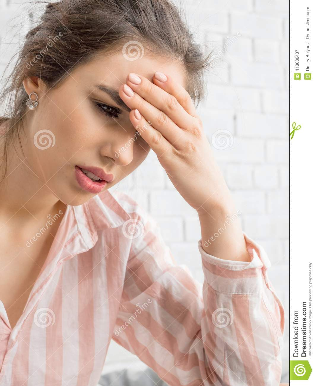 Strong Headache Concept, Young Woman Massaging Temples With Eyes Closed,  Suffering From Chronic Migraine, Stressed Stock Image - Image of  frustratedgirl, fatiguefemale: 113636407