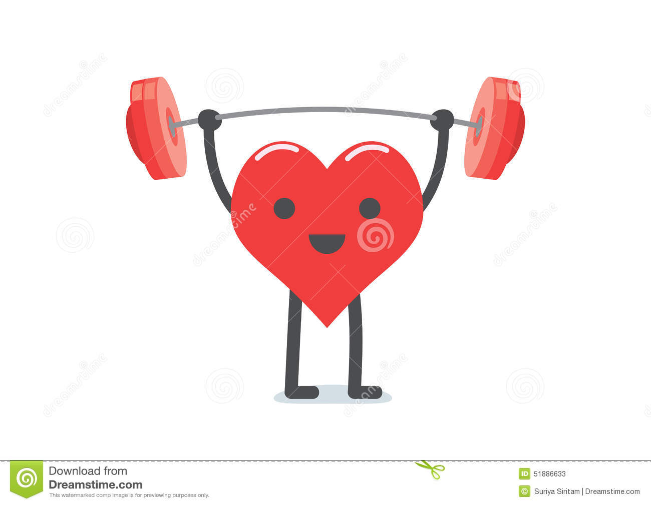 Strong Heart Weight Lifting Stock Vector - Image: 51886633