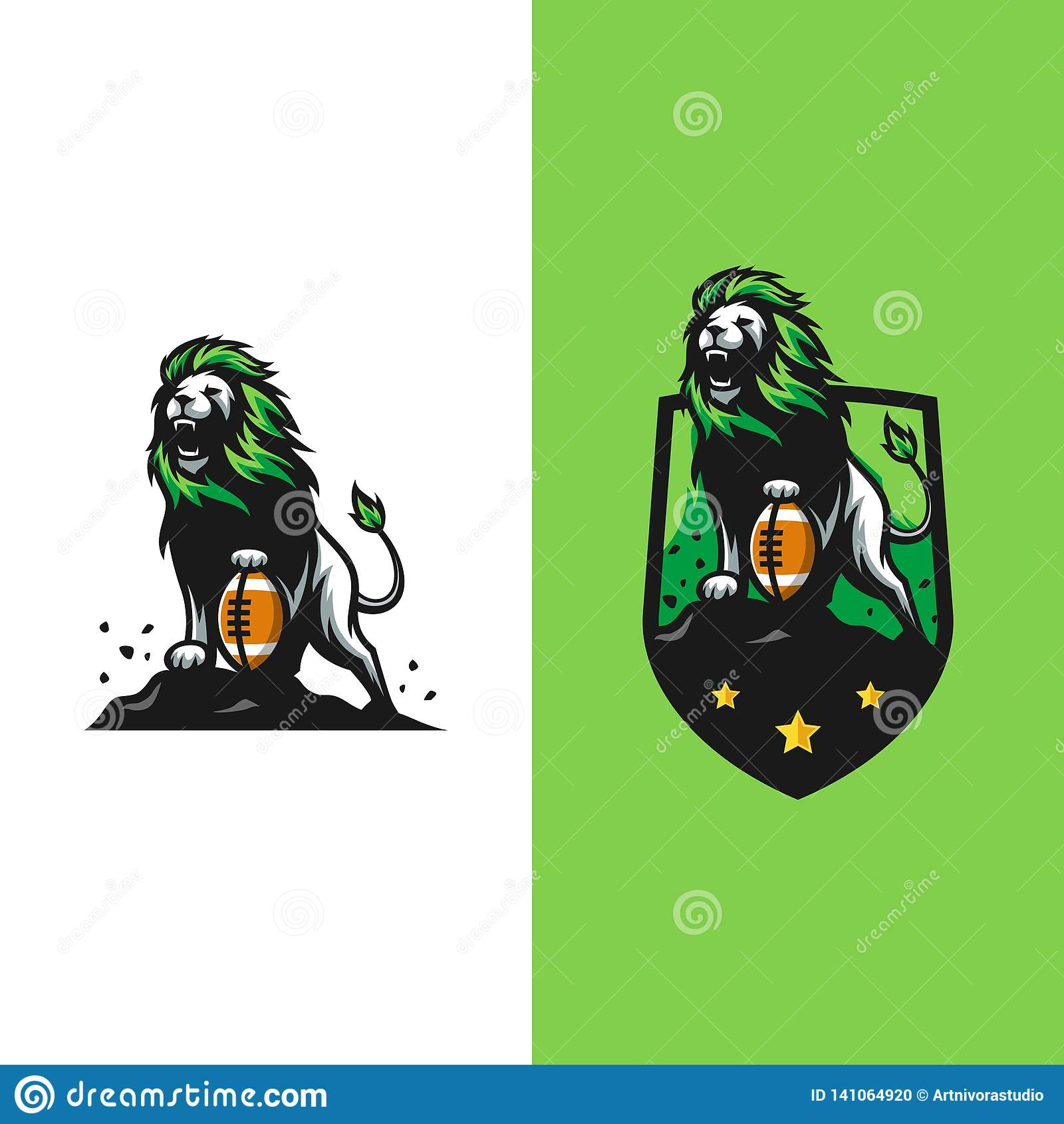 Strong L Ions Concept illustration vector Design template