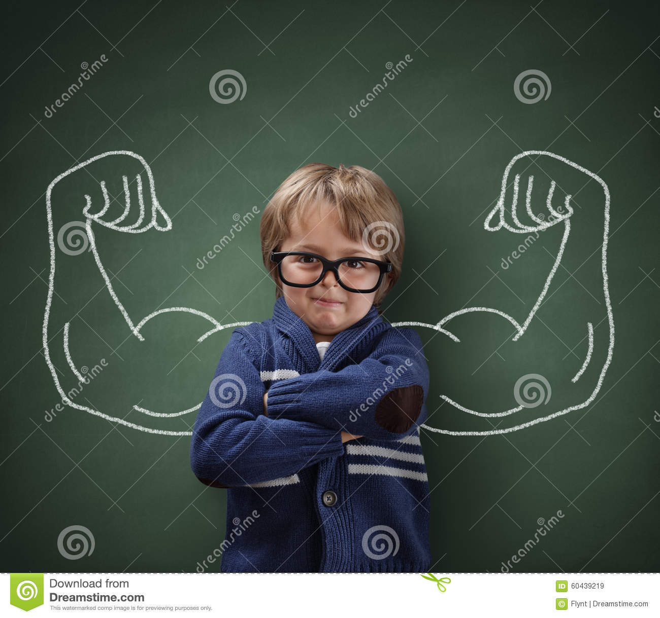 Strong Man Child Showing Bicep Muscles Stock Photo - Image ...
