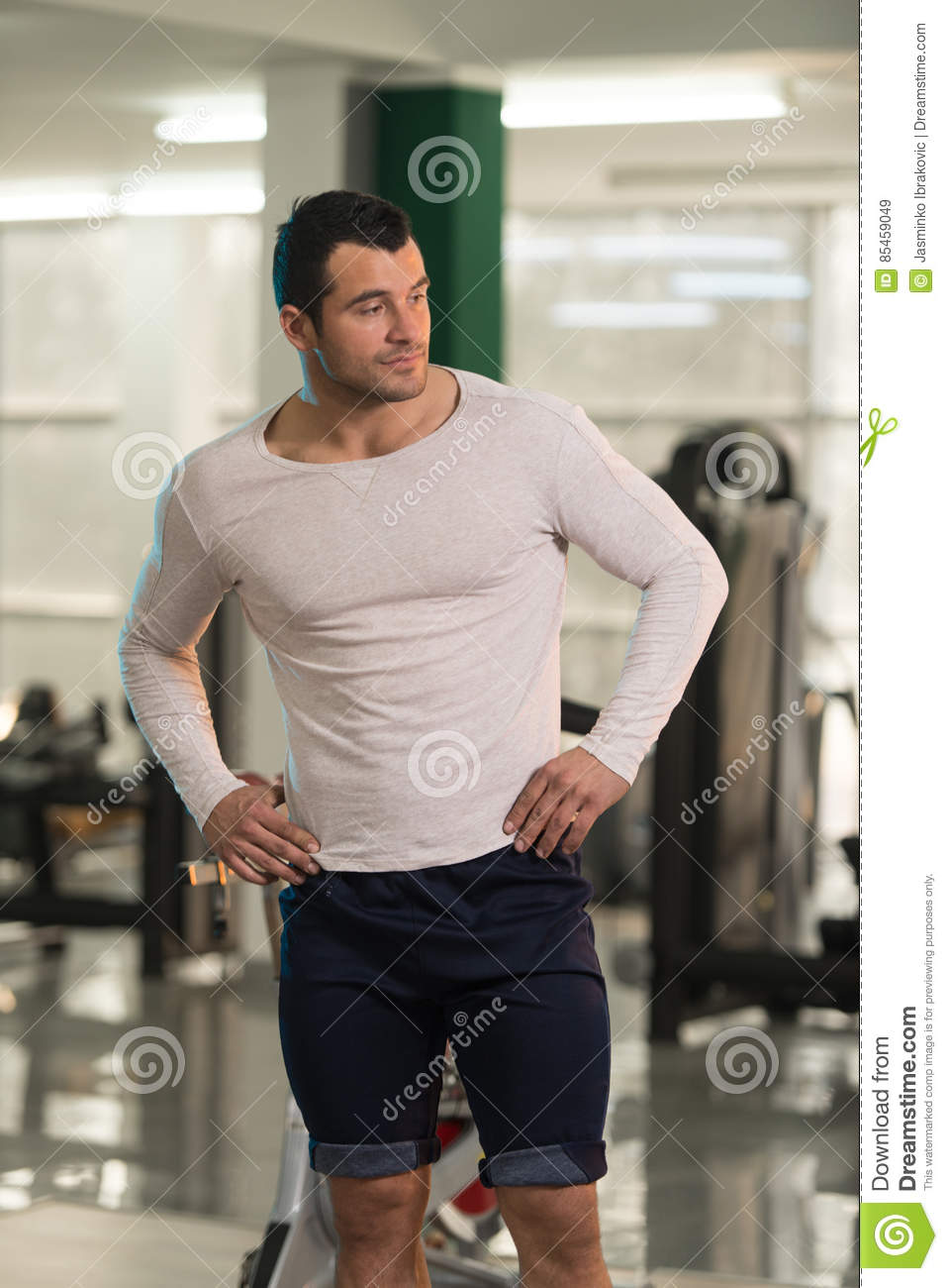 Strong Man In White T Shirt Background Gym Stock Photo