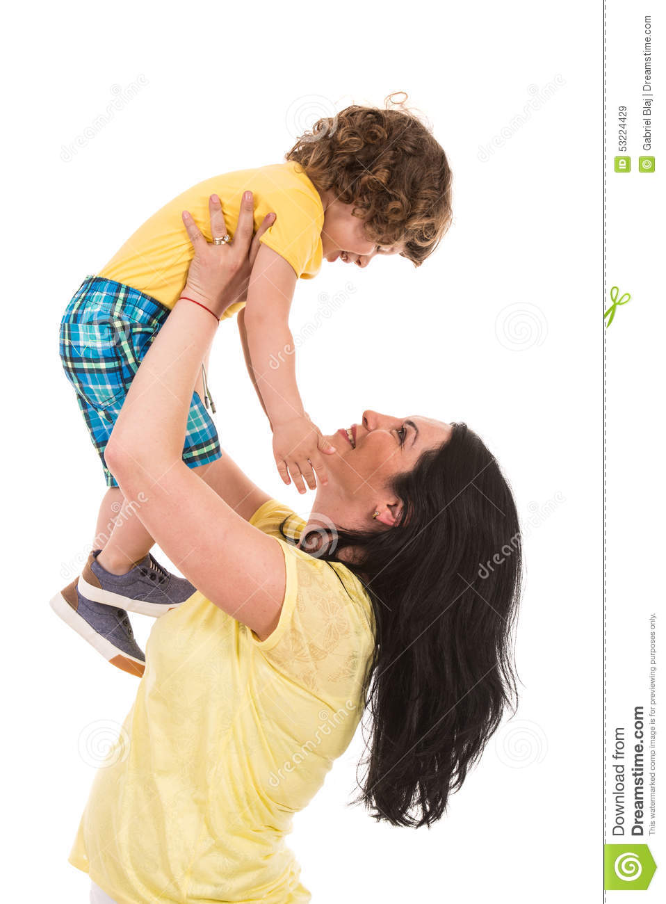 Strong mother raise up her son