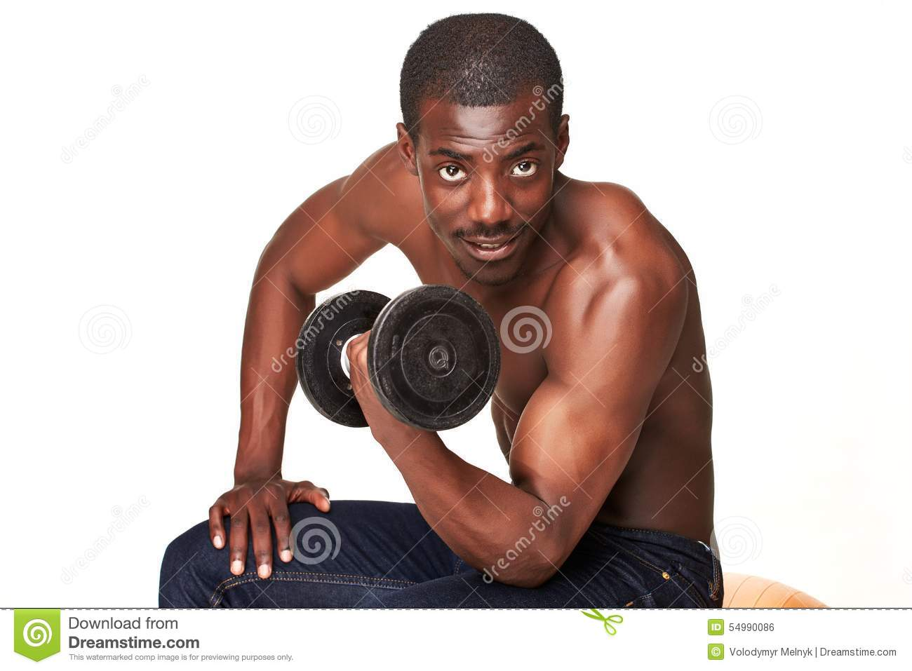 Strong and muscular guy with dumbbell isolated on
