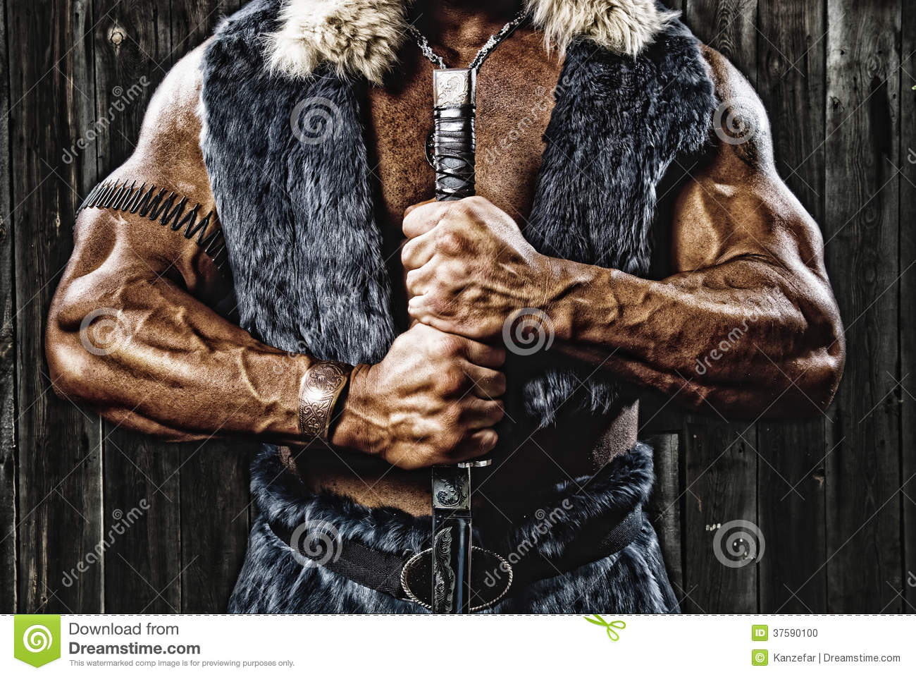 Strong muscular man defender warrior with sword in hand