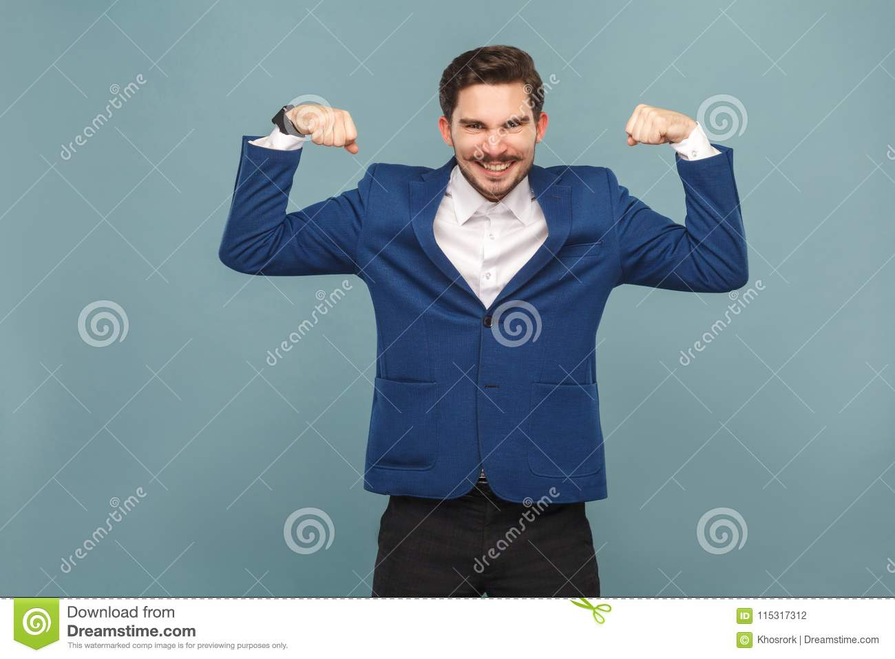 Strong mustache man showing muscule and toothy smiling
