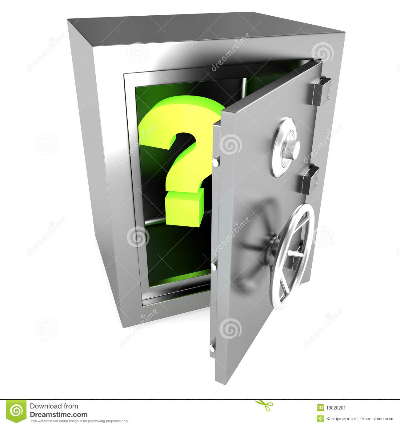 Strong Open Safe With Question Mark Inside Stock Image - Image ...