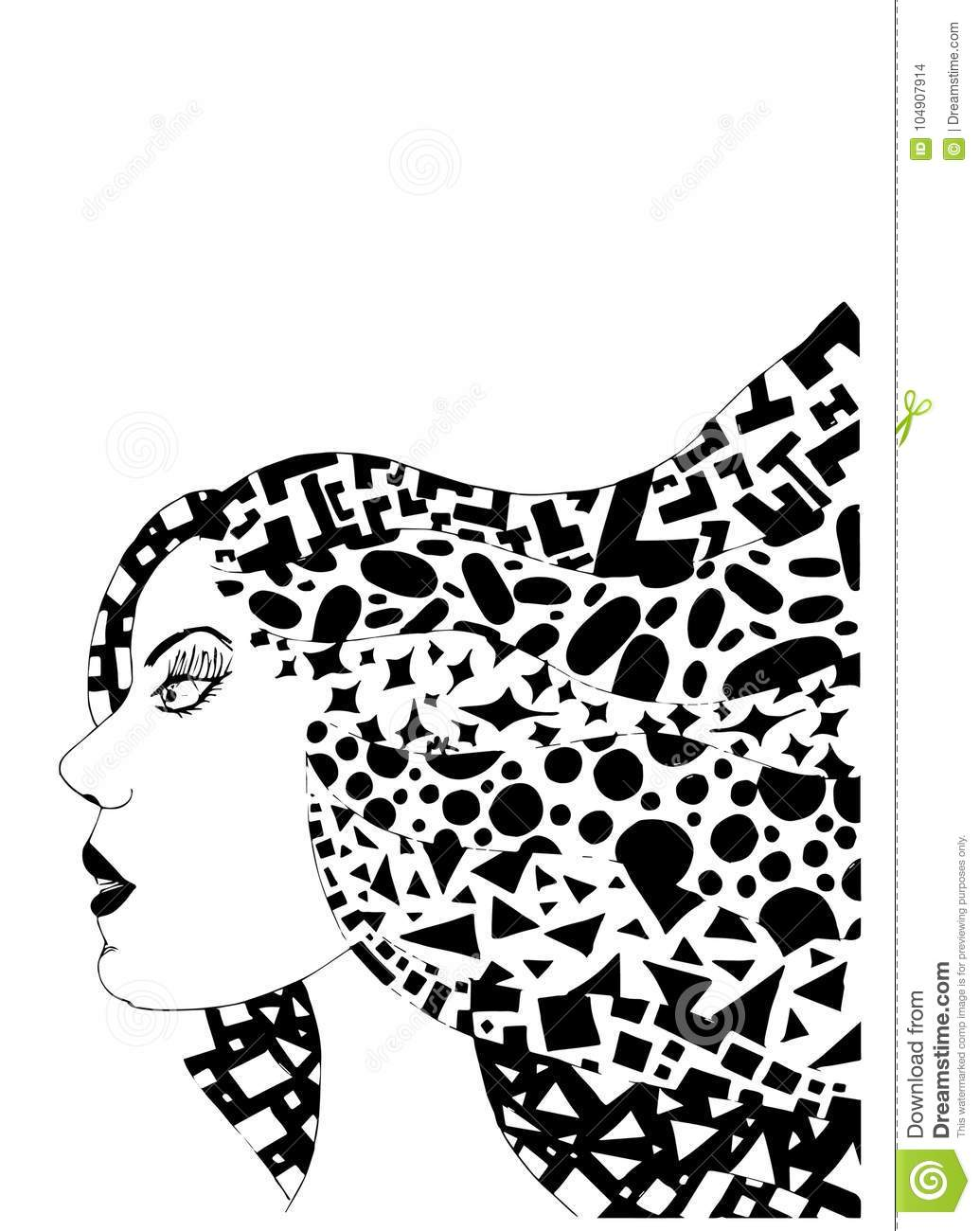 Strong Profile Of Woman With Mad Hair Stock Illustration ... e53f83ef79e