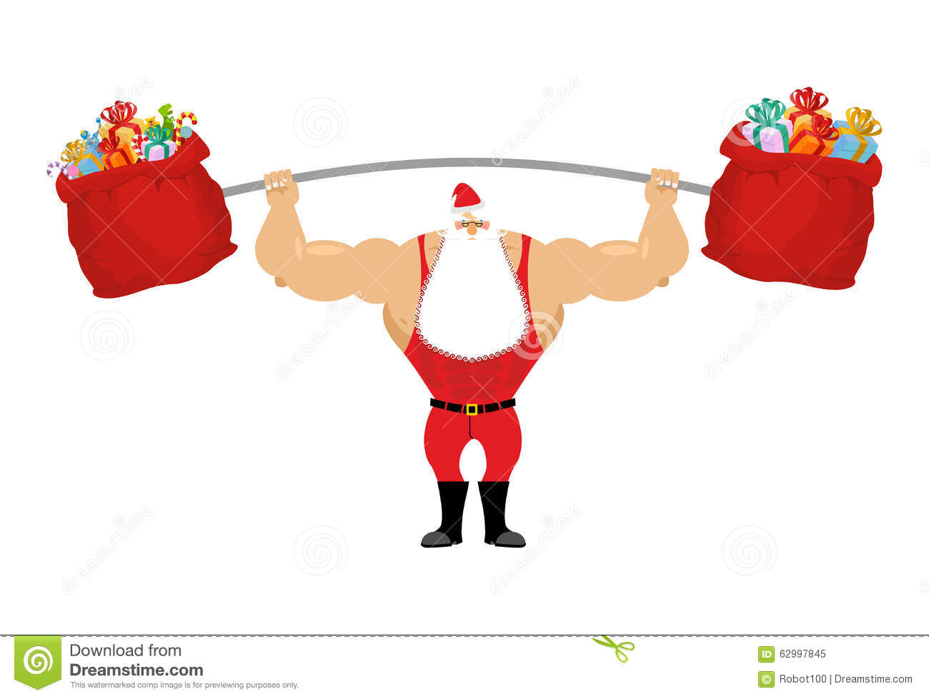 Strong santa claus holding barbell and gift bag stock