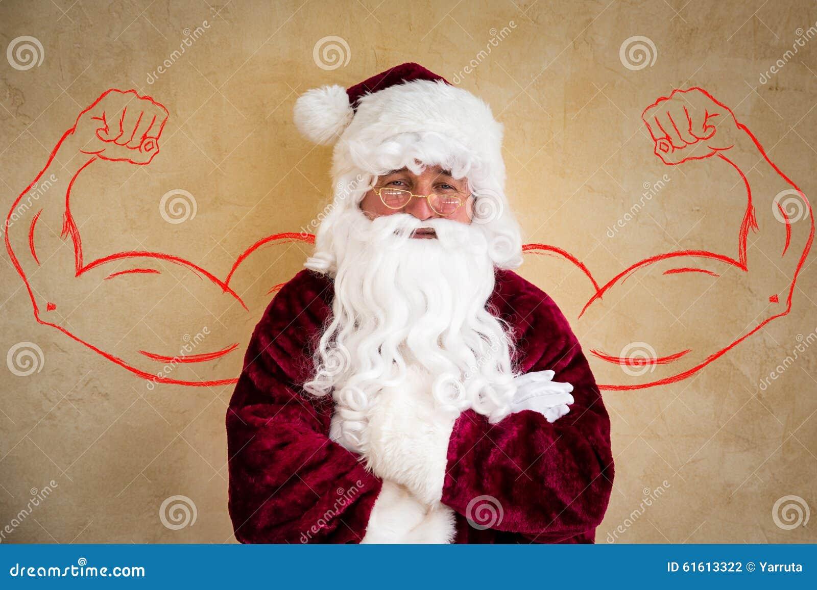 Strong santa claus stock photo image