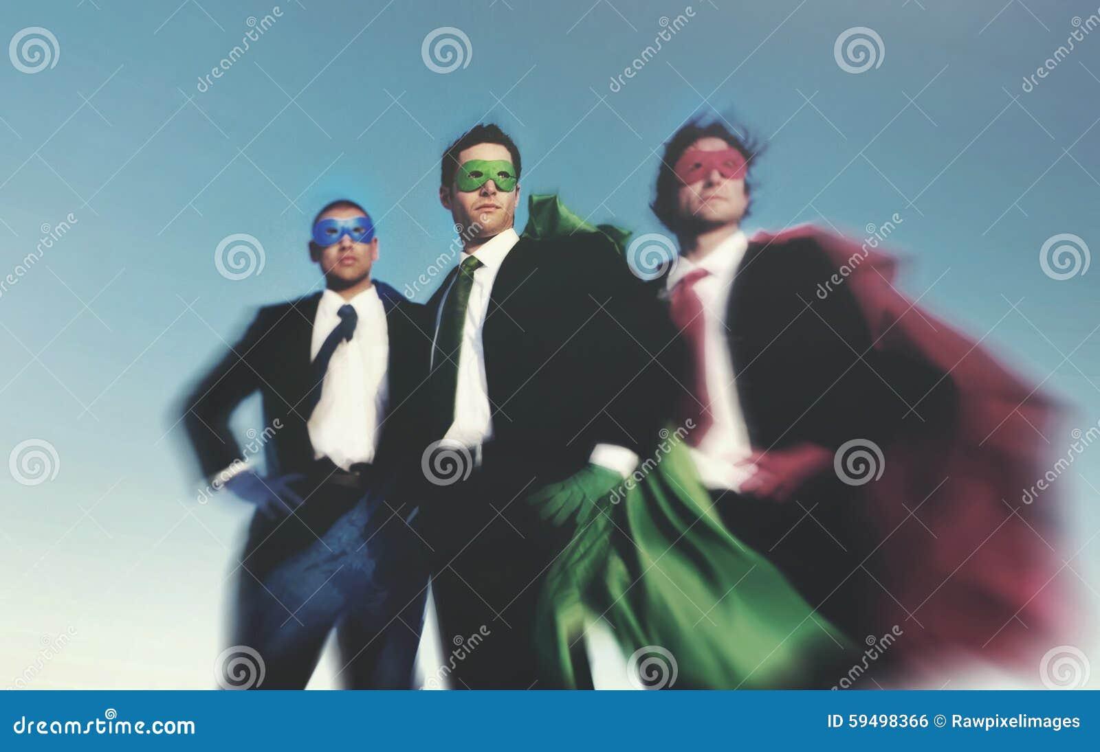 Strong Superhero Business Aspirations Confidence Success Concept