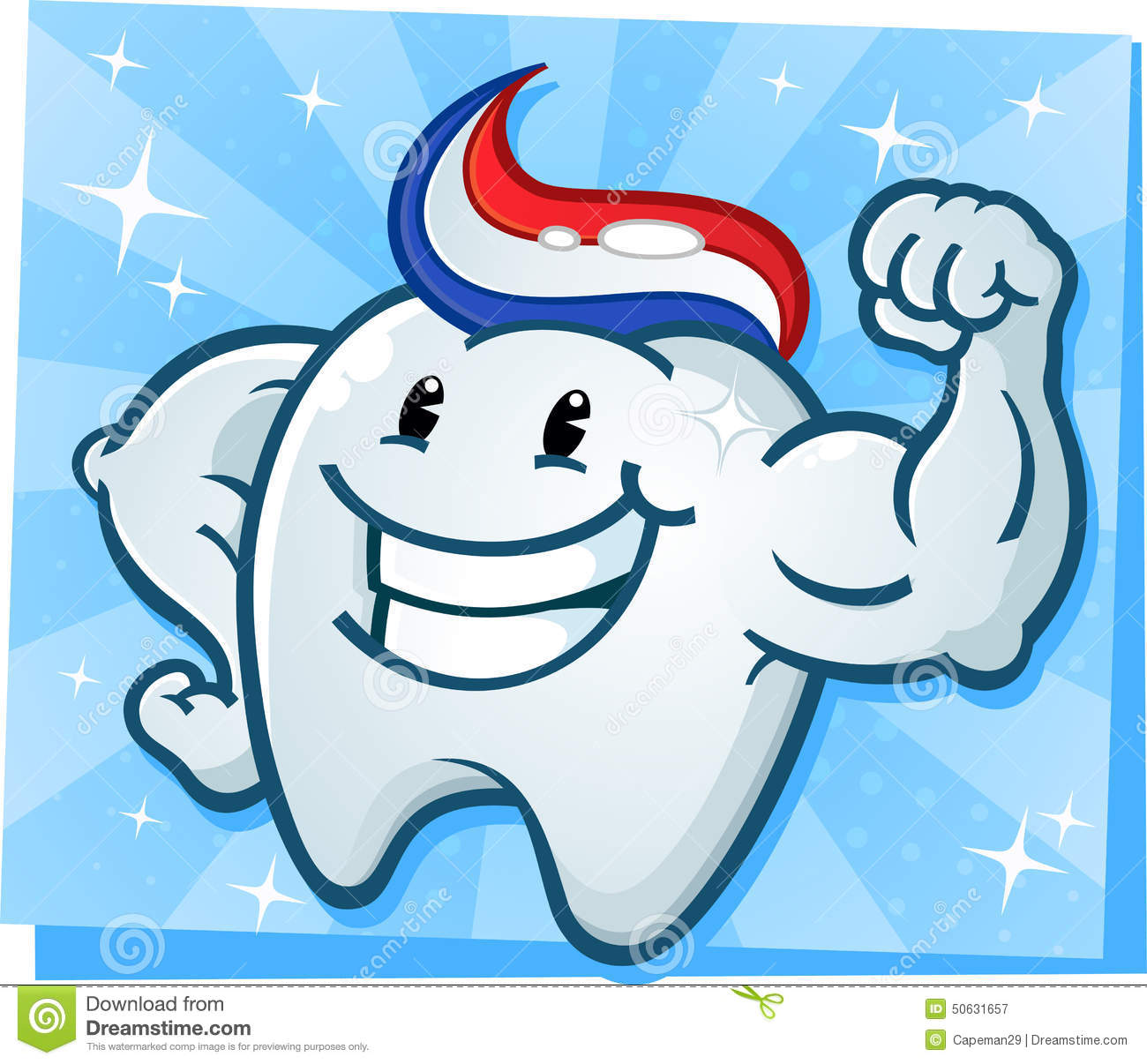 1 Toothed Cartoon Characters : Strong tooth flexing muscles cartoon character stock