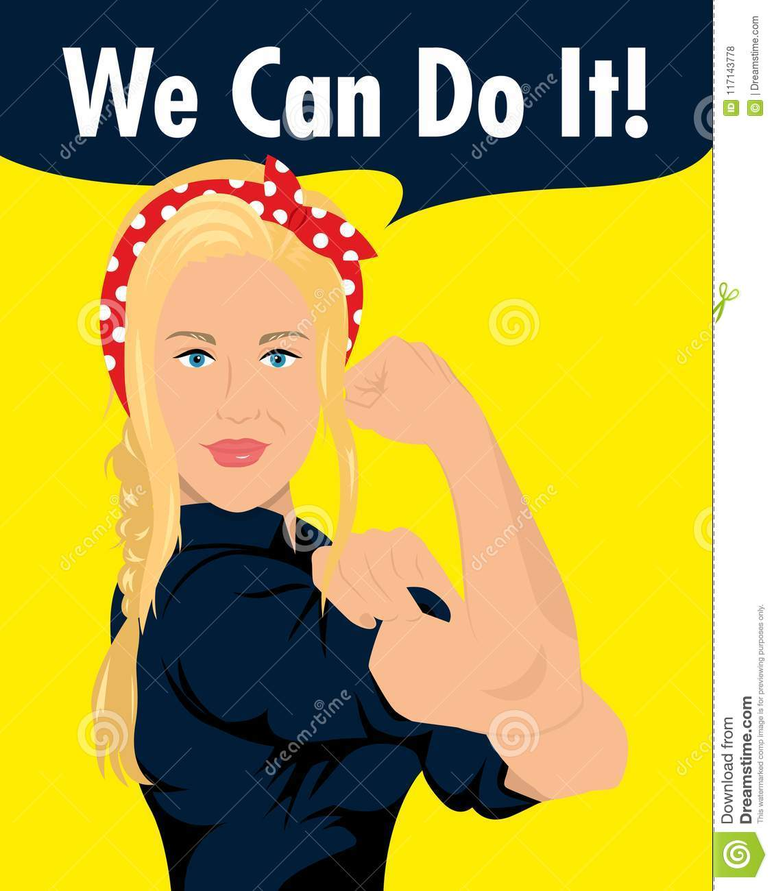 Strong Woman Saying We Can Do It Stock Illustration Illustration