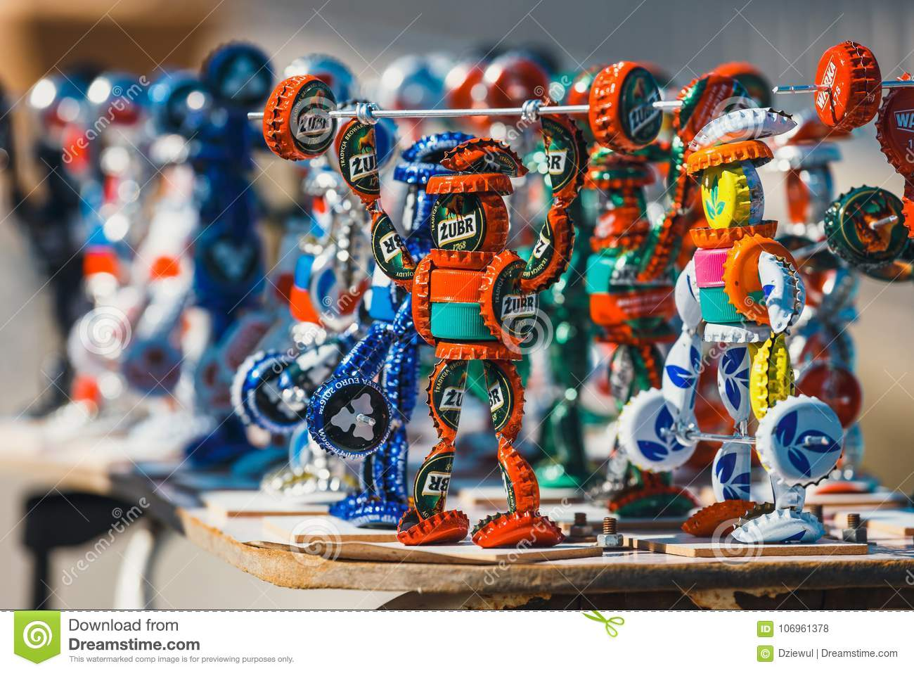 Download Strongman Figurines Made From Bottle Caps And Sold On The Promenade Next To The Beach By A Loca Editorial Stock Photo - Image of cross, crown: 106961378