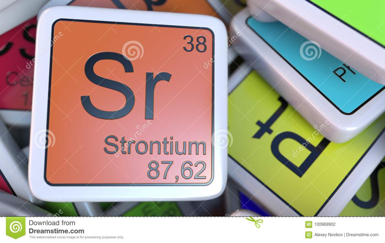 Strontium Sr Block On The Pile Of Periodic Table Of The Chemical