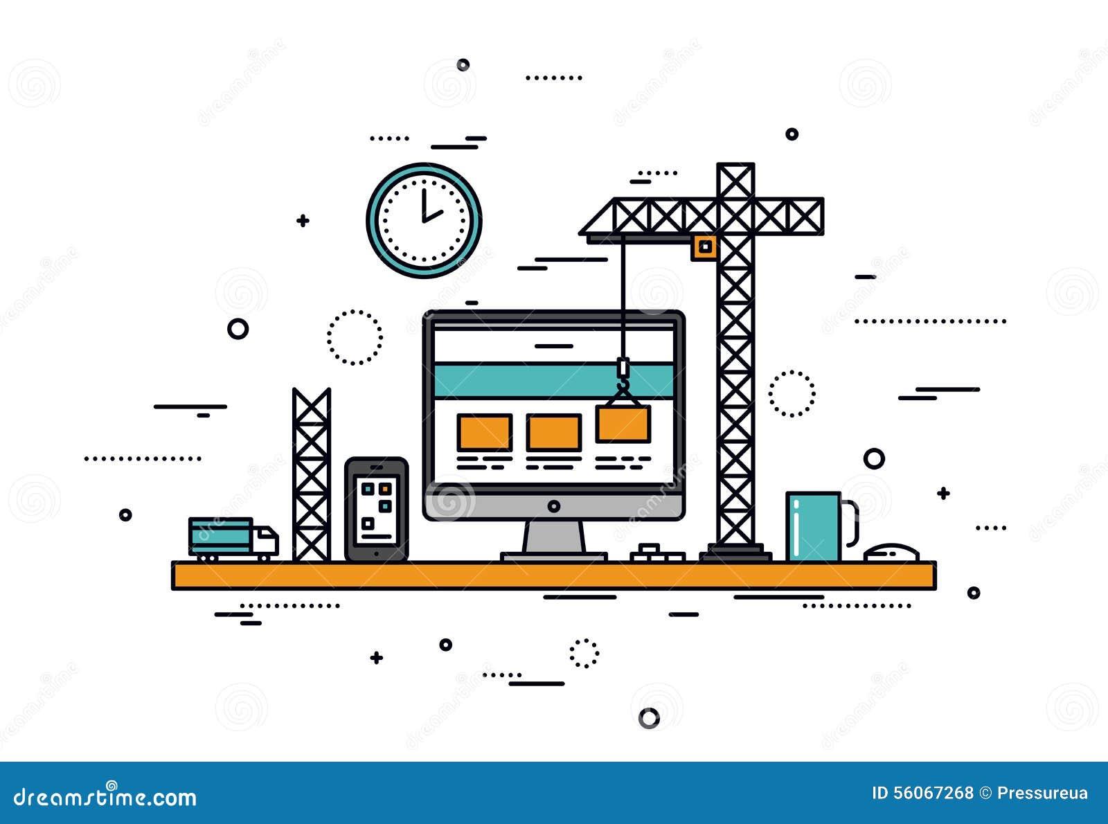 Strony internetowej budowy kreskowego stylu ilustracja