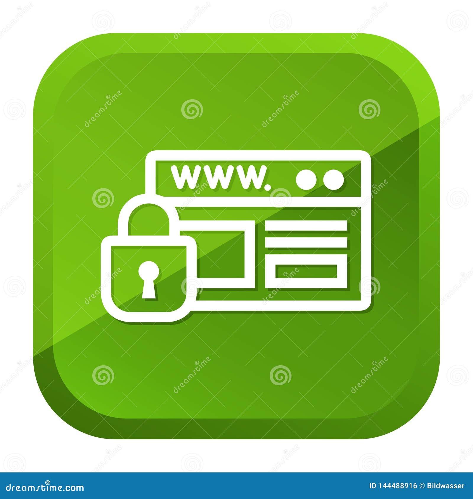 Strony internetowej ochrony kłódki ikona zielony przycisk Eps10 Wektor