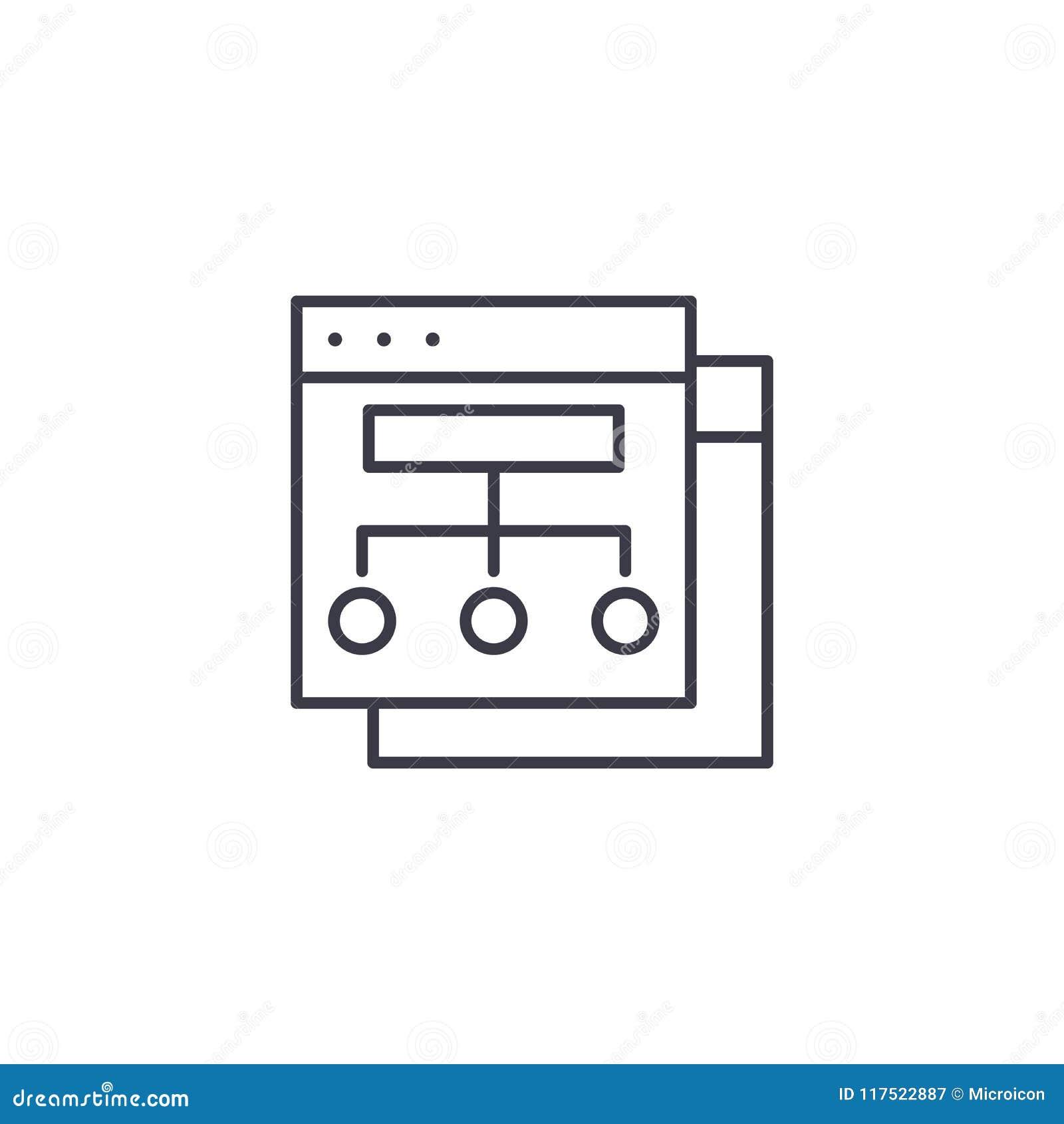 Strony internetowej struktury ikony liniowy pojęcie Strony internetowej struktury linii wektoru znak, symbol, ilustracja