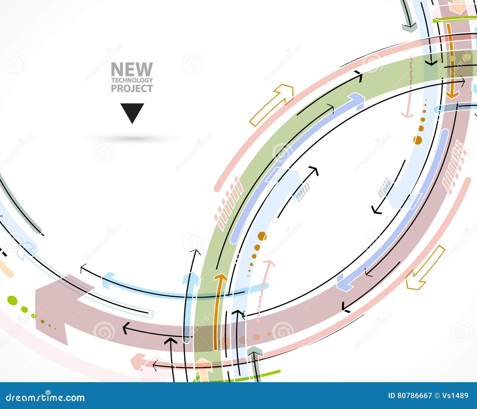 Stroom van pijlen Verbeelding van zaken of technologieproces V