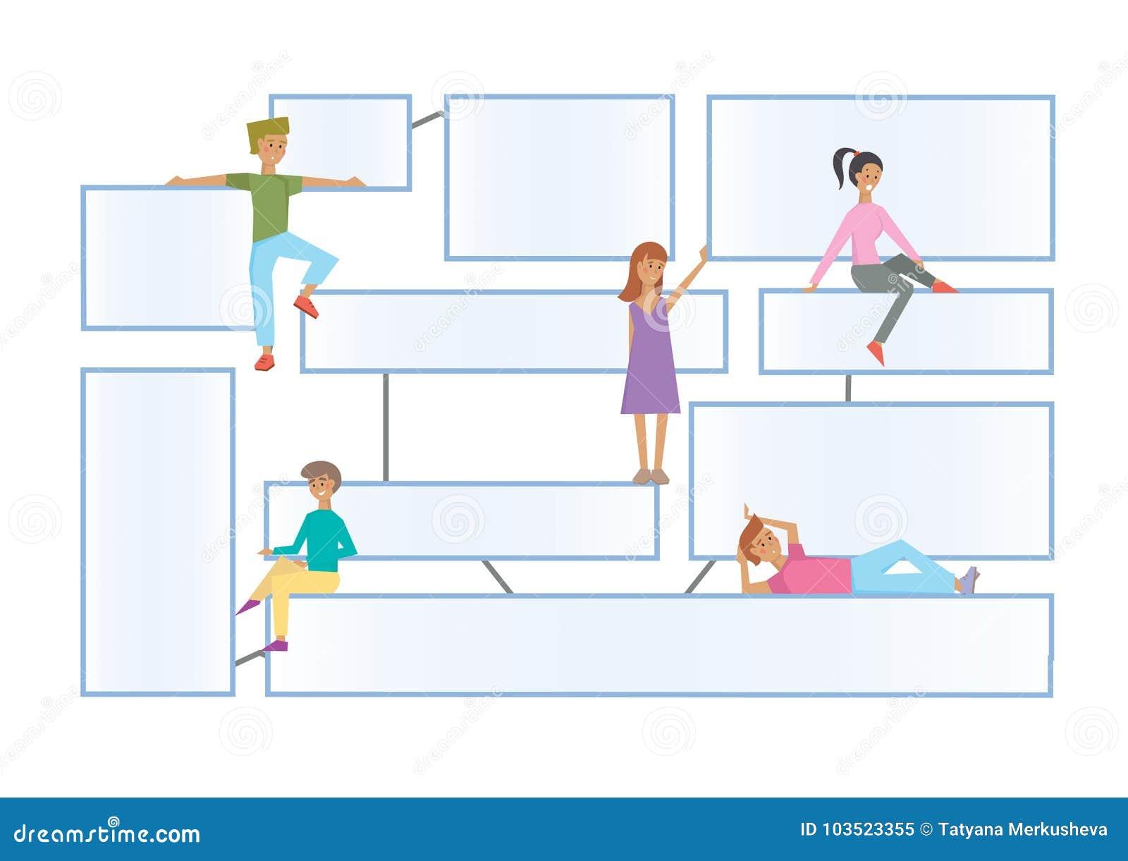 Stroomschema latout met menselijke karakters op een witte achtergrond Aangesloten informatie-dozen voor presentatie Vlakke Infogr