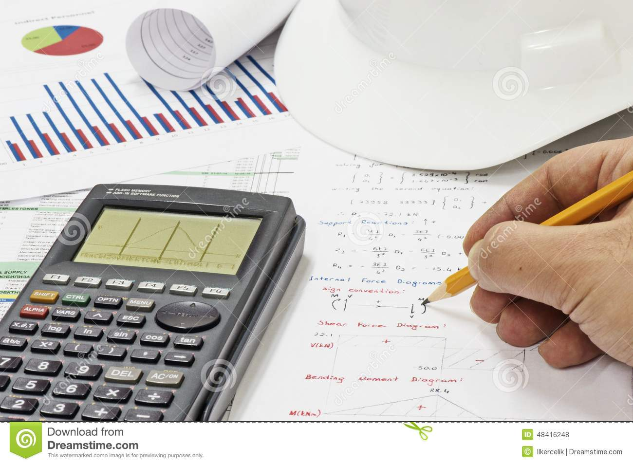 Structural Engineering Calculations : Structural analysis calculations stock photo image of