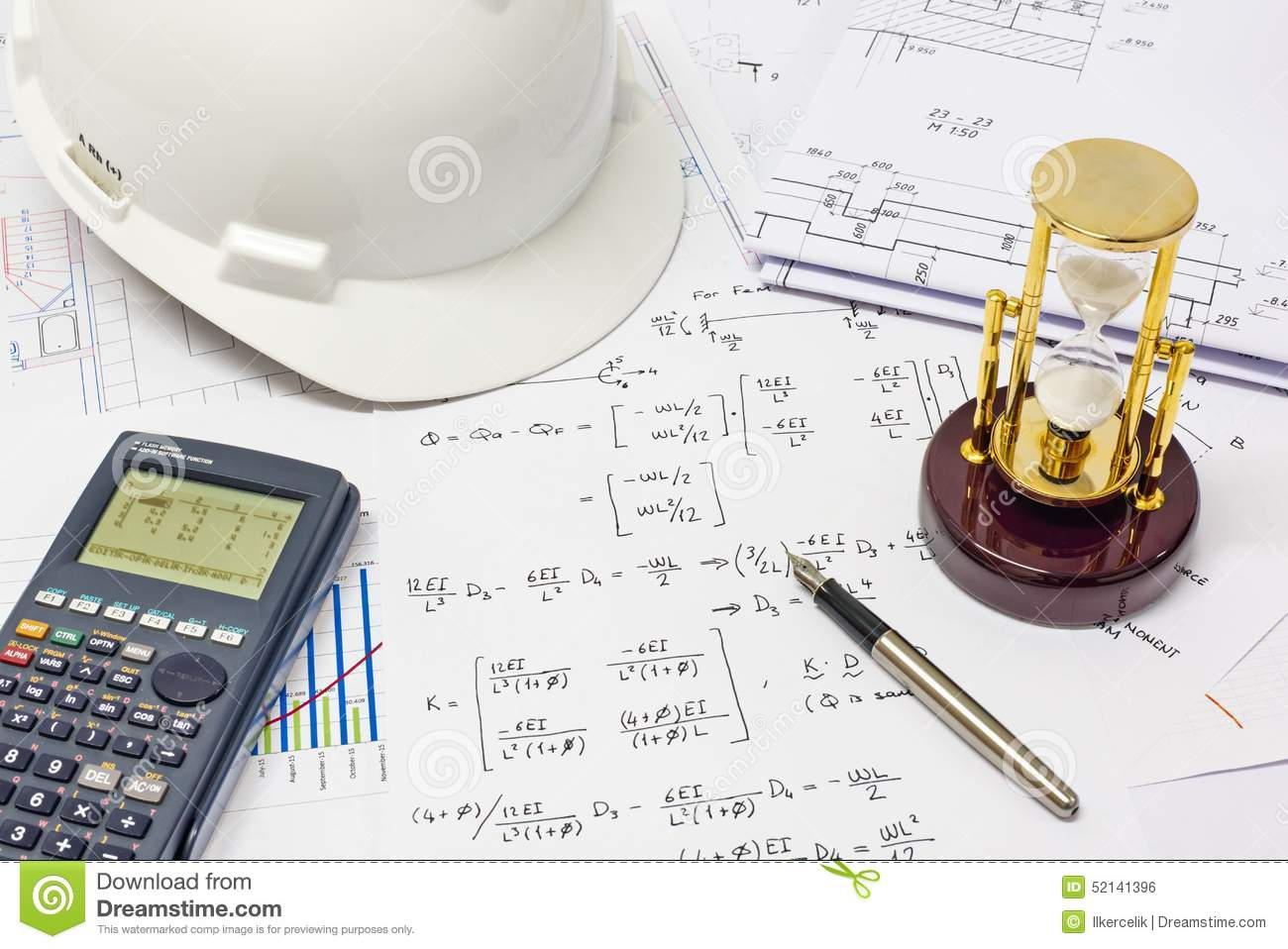 Structural Engineering Calculations : Structural analysis calculations stock photo image