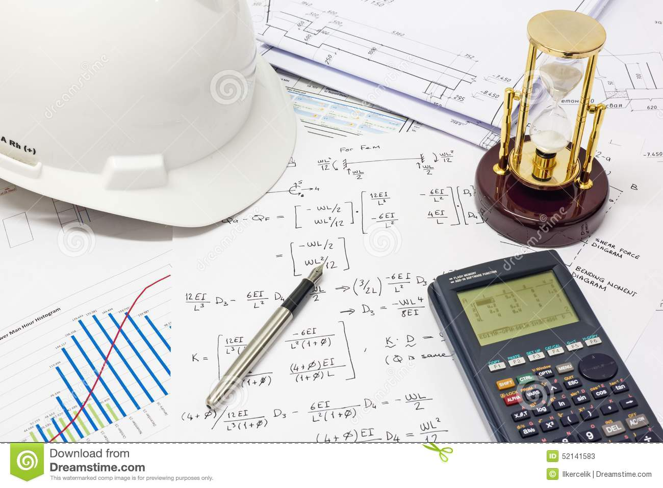 Structural Engineering Calculations : Structural analysis calculations stock image of