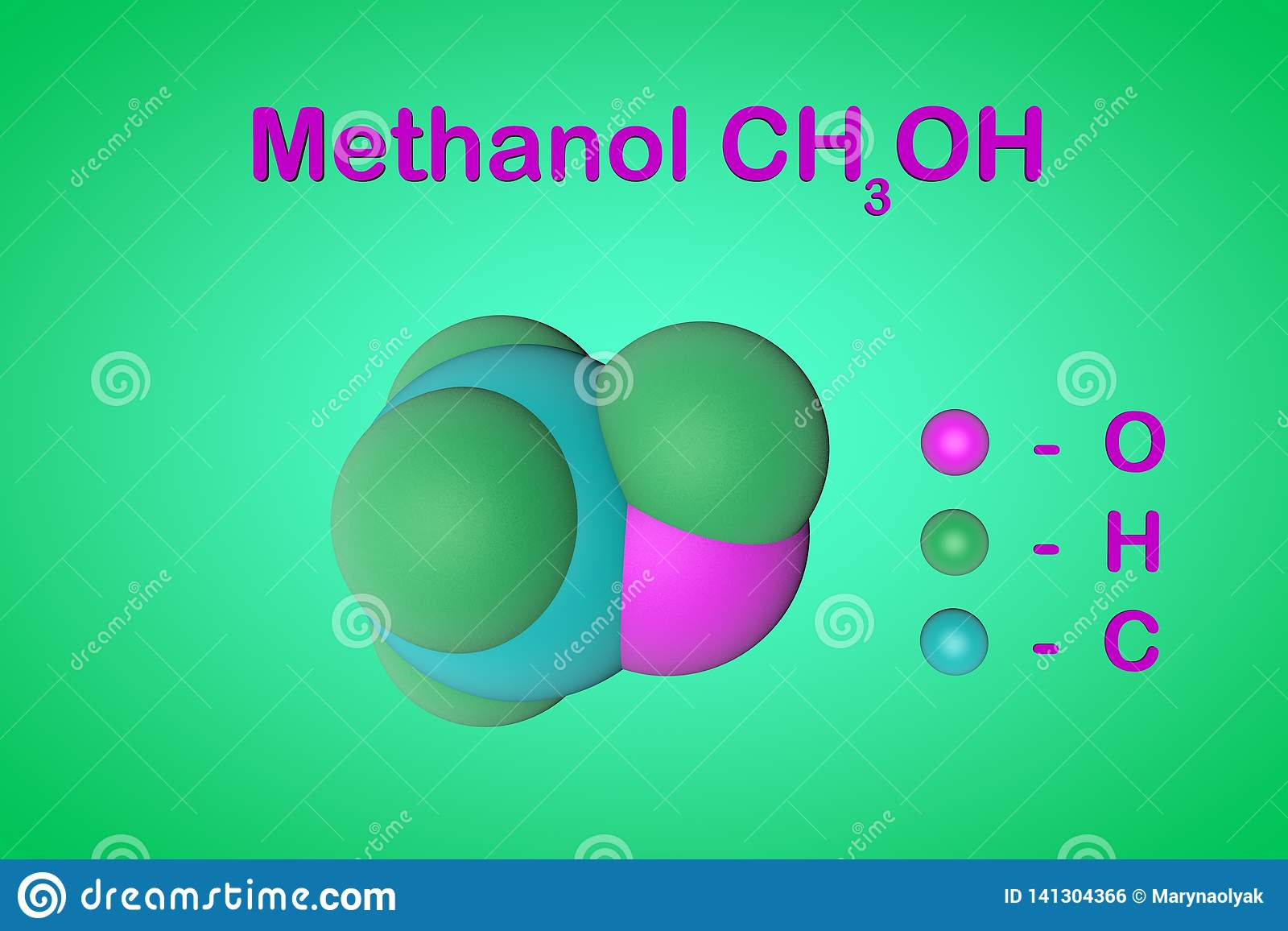 Structural Chemical Formula And Model Of Methanol Methyl