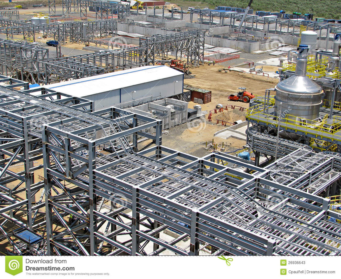 Structural steel pipe racks and cable stock image