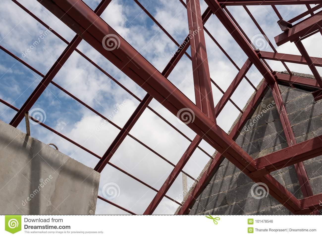 Steel Roof Frame Of Building Stock Photo Image Of Blue Build 101478546
