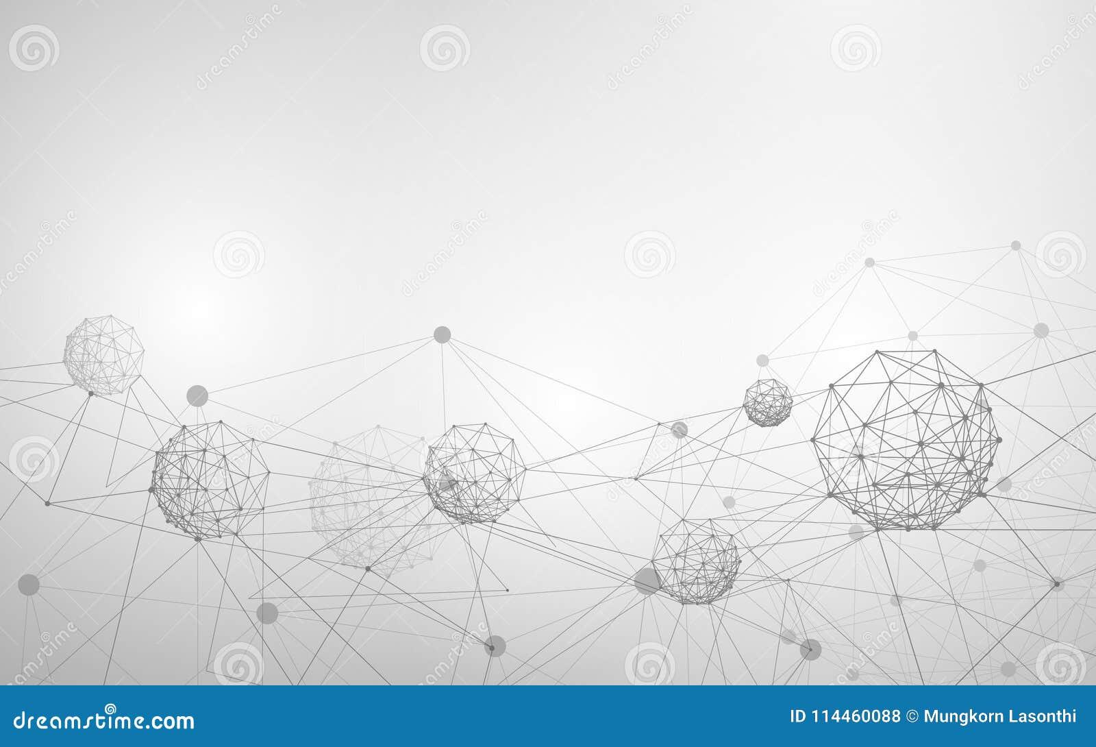 Structure abstraite de molécule et d atome La Science blanche et grise ou fond médical