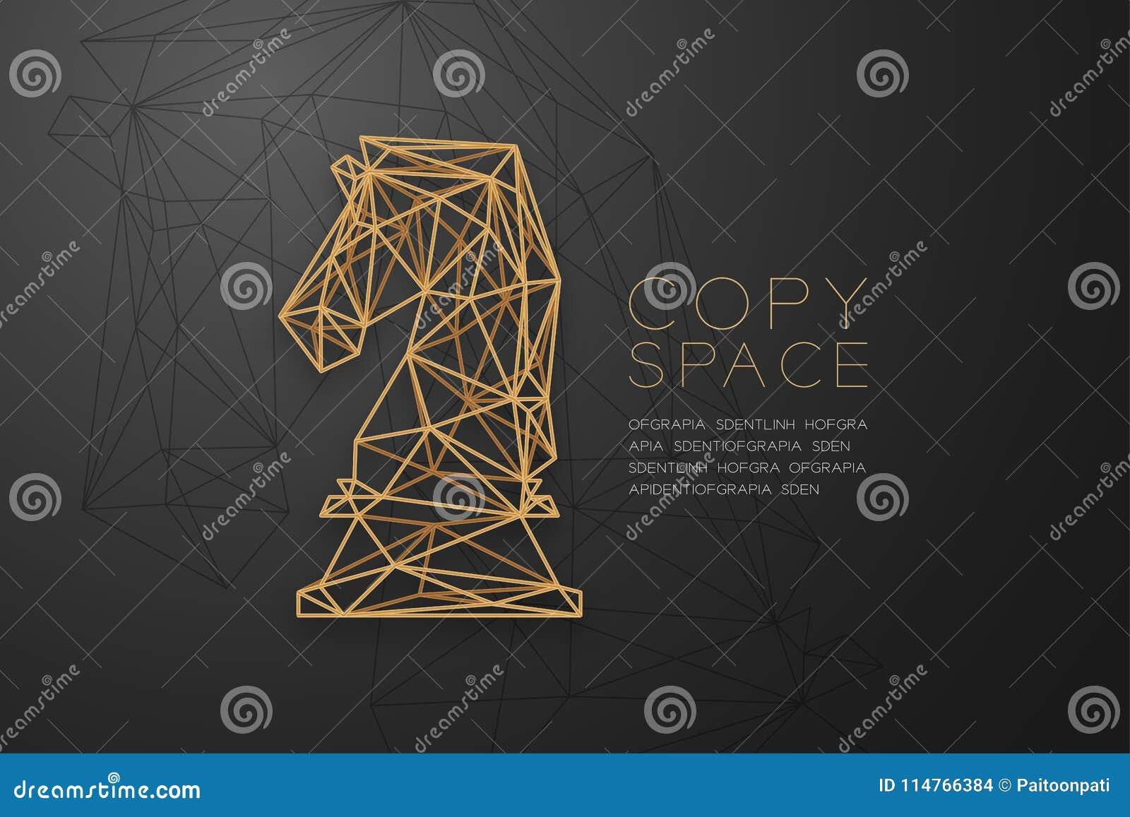 Structure d or de cadre de polygone de wireframe de chevalier d échecs, illustration de conception de l avant-projet de stratégie
