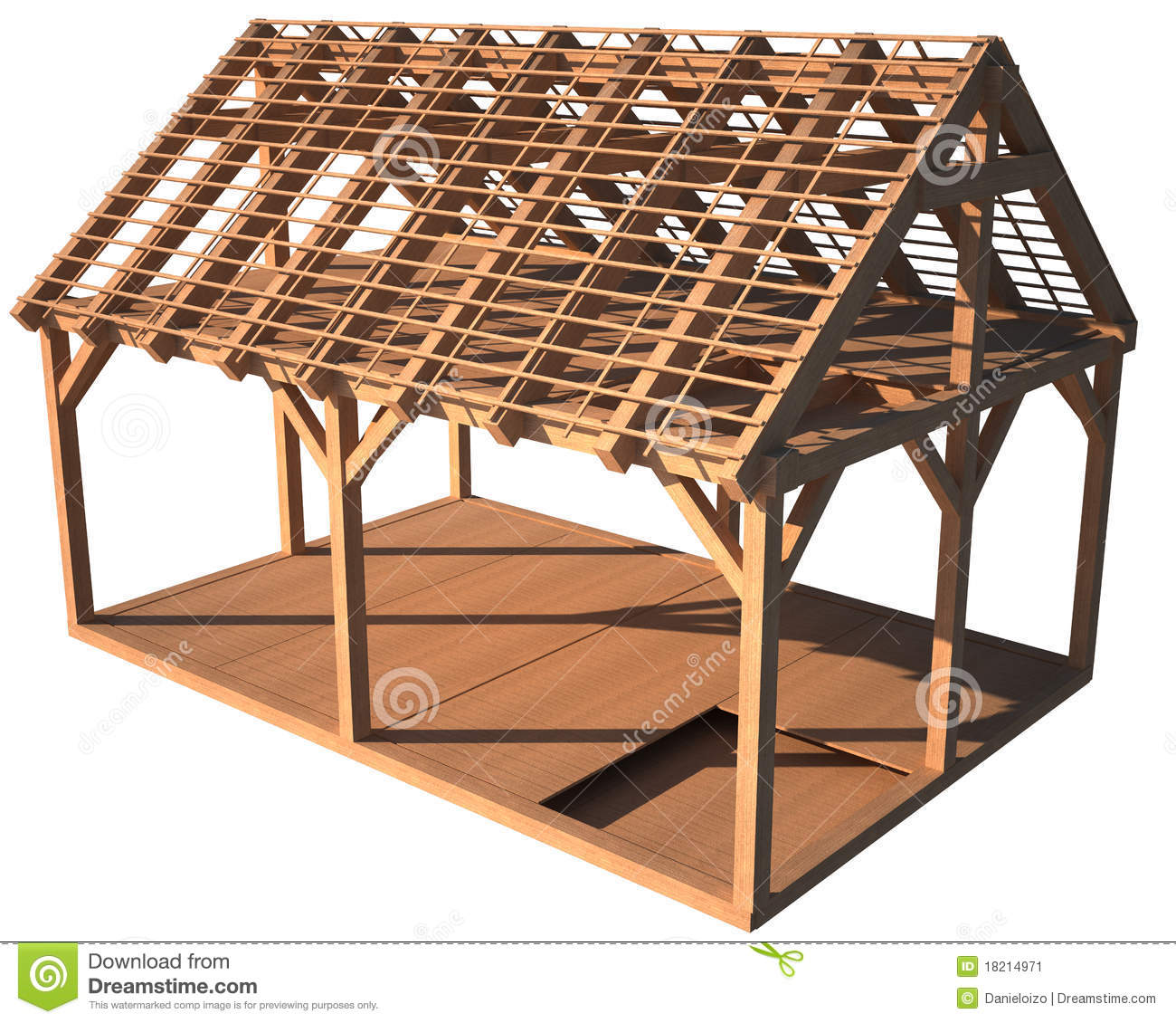 Structure en bois de chambre illustration stock for Structure de bois