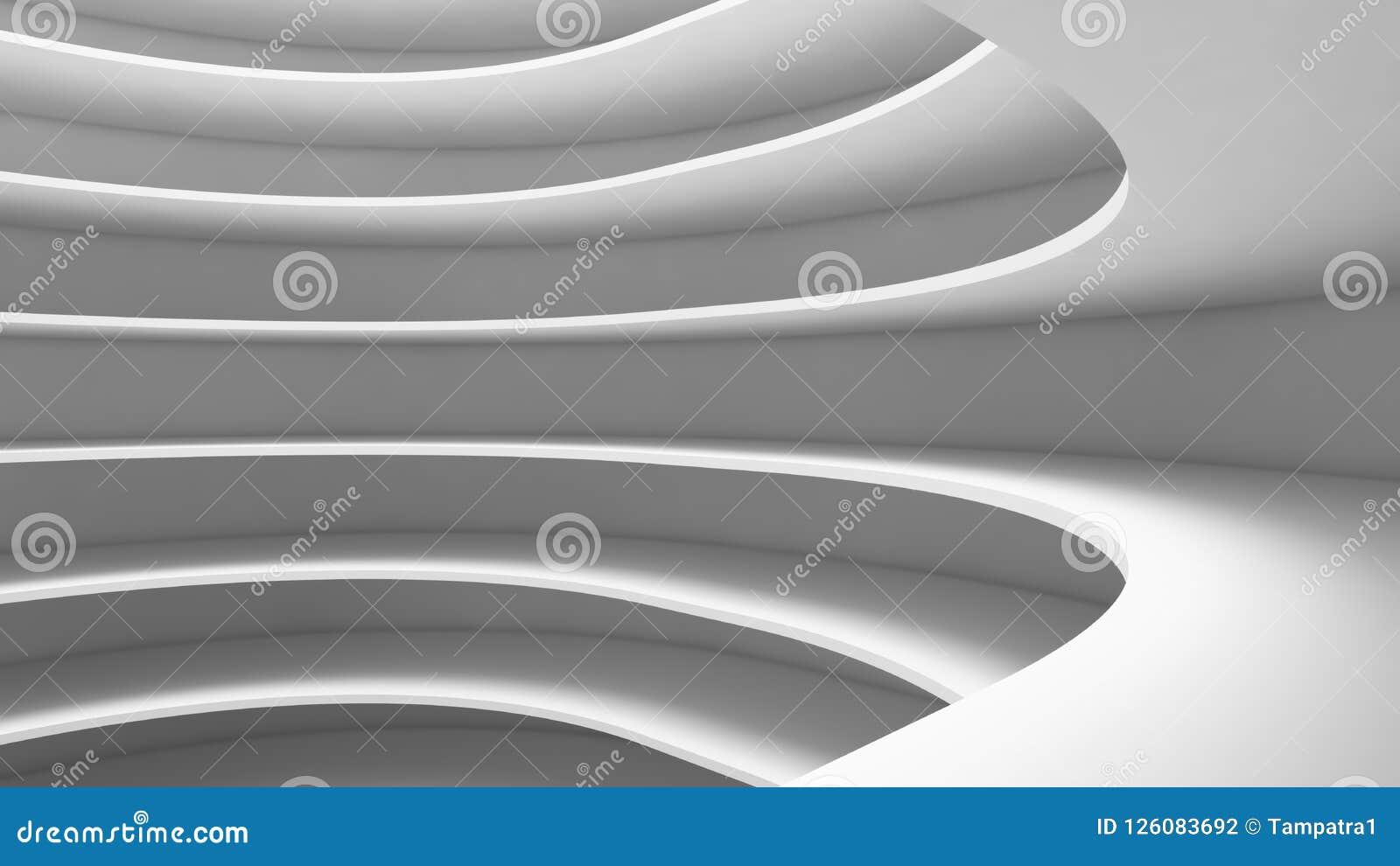 Structure Of Futuristic Empty Curve Room. Interior Design ...
