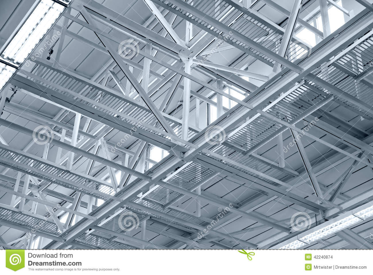 Structure Of Metal Industrial Roof Stock Photo - Image ...