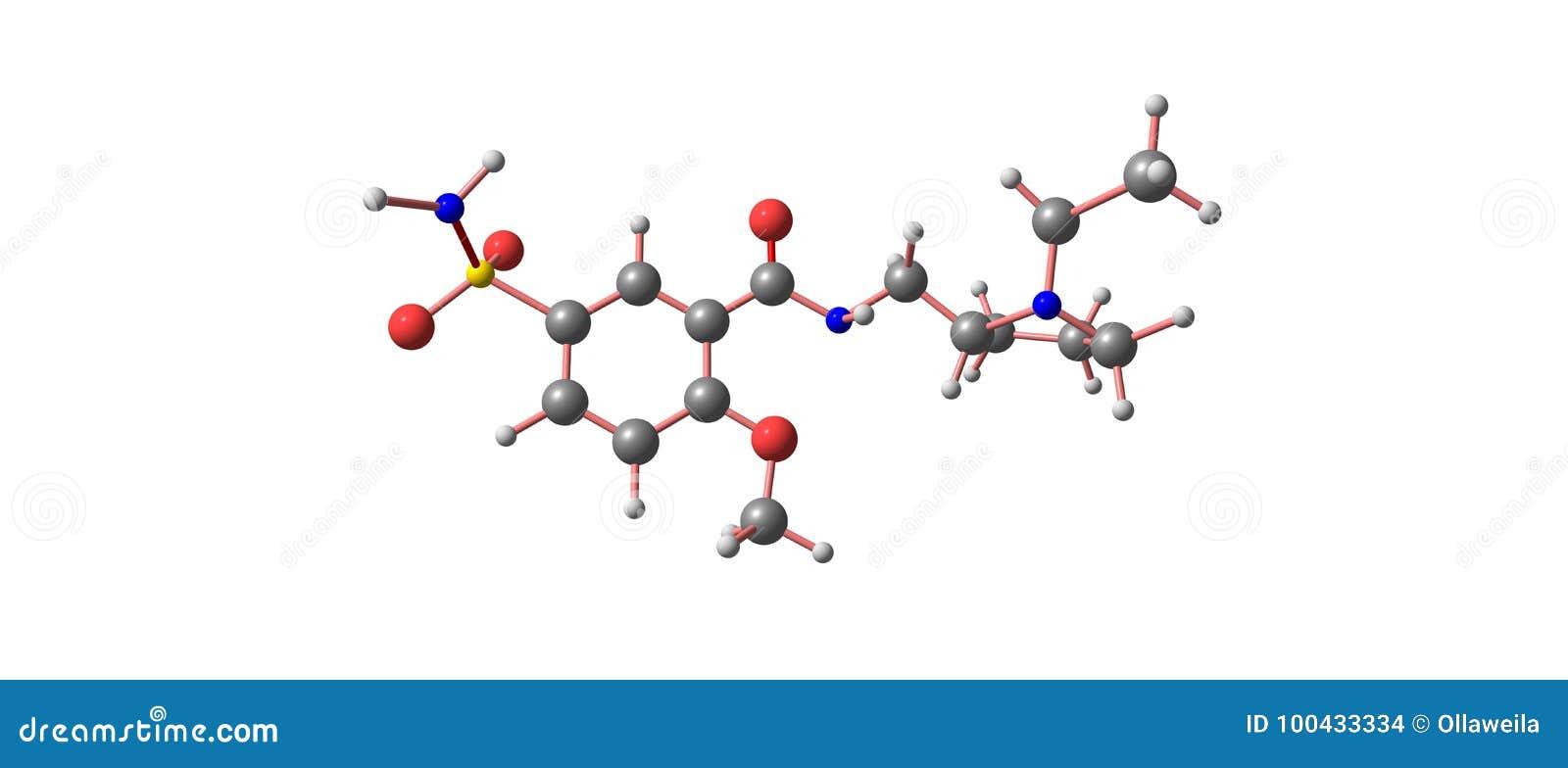 Structure moléculaire de Sulpiride d isolement sur le blanc