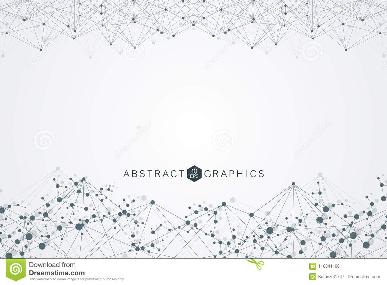 Structure molecule and communication. Dna, atom, neurons. Scientific concept for your design. Connected lines with dots