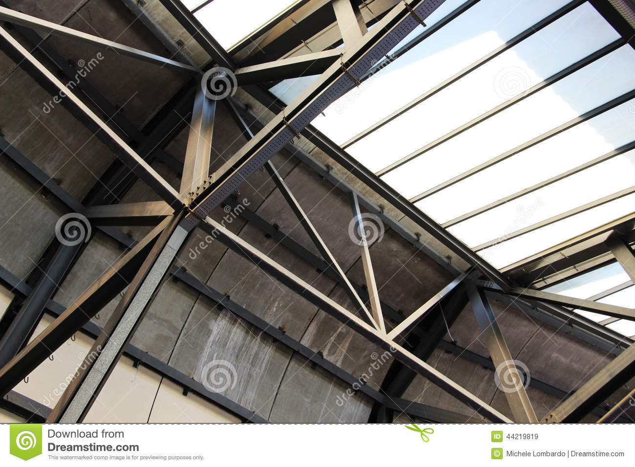 Structure Of Steel And Glass Detail Stock Image Image Of