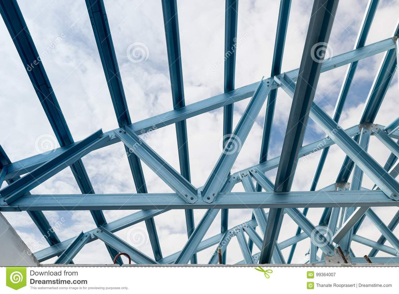 Structure Of Steel Roof Frame Stock Image Image Of Precast