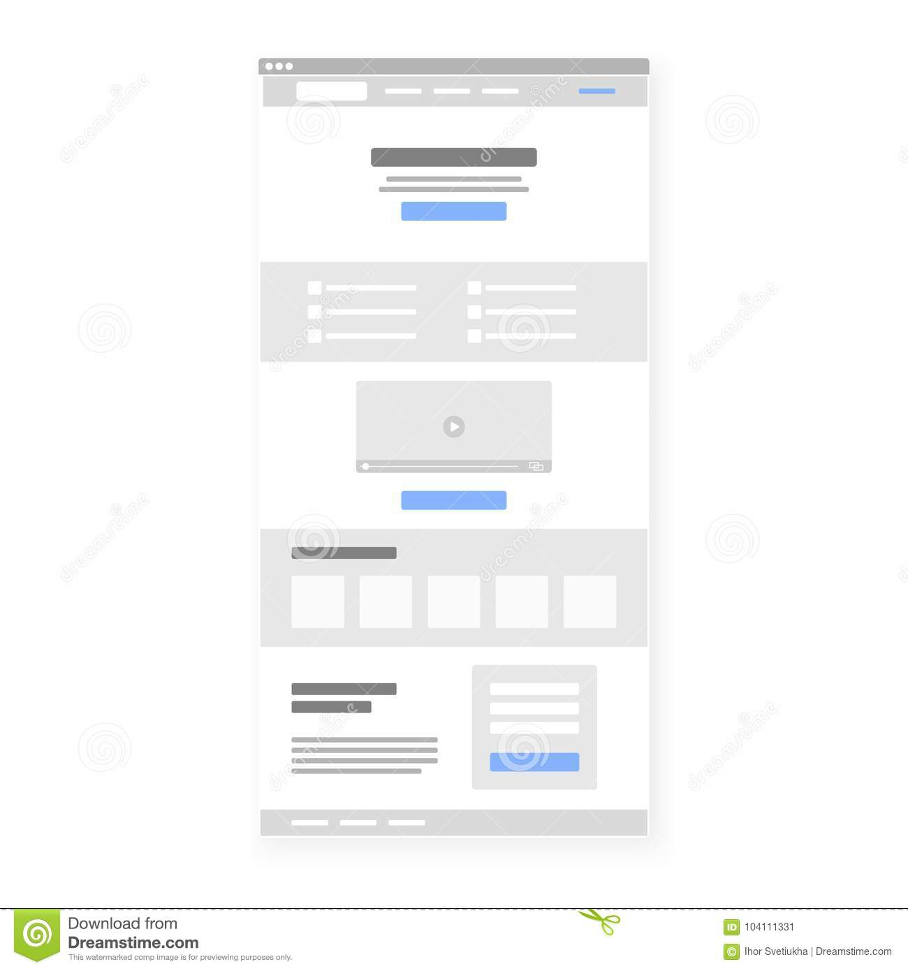 Structure template of landing page. Call To Action button selected blue. Vector illustration
