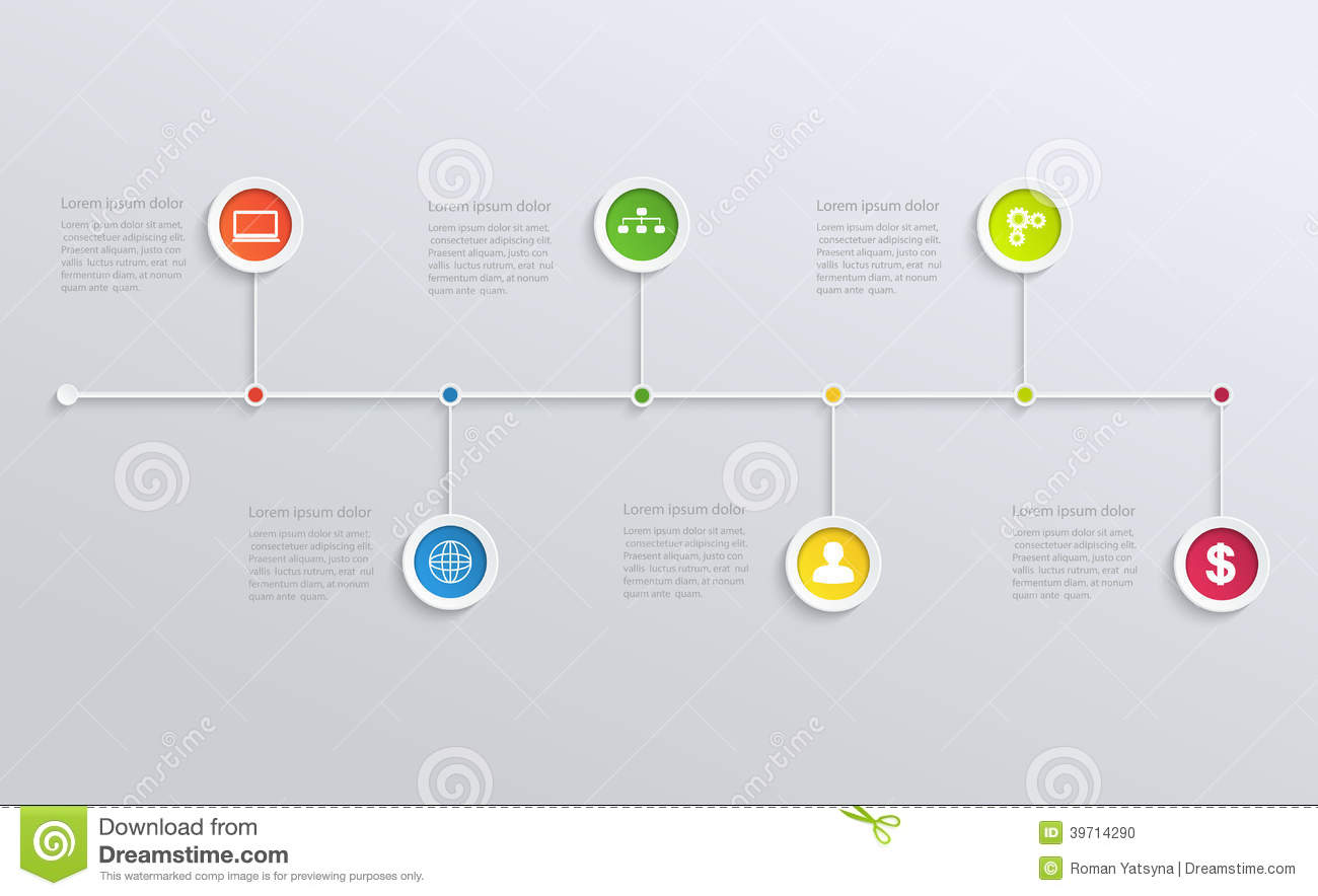Structure Timeline With Business Icons Stock Vector