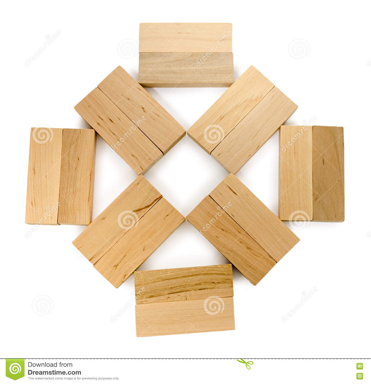 Structure Of Wooden Bricks, Looks Like Flower Or Sun Stock