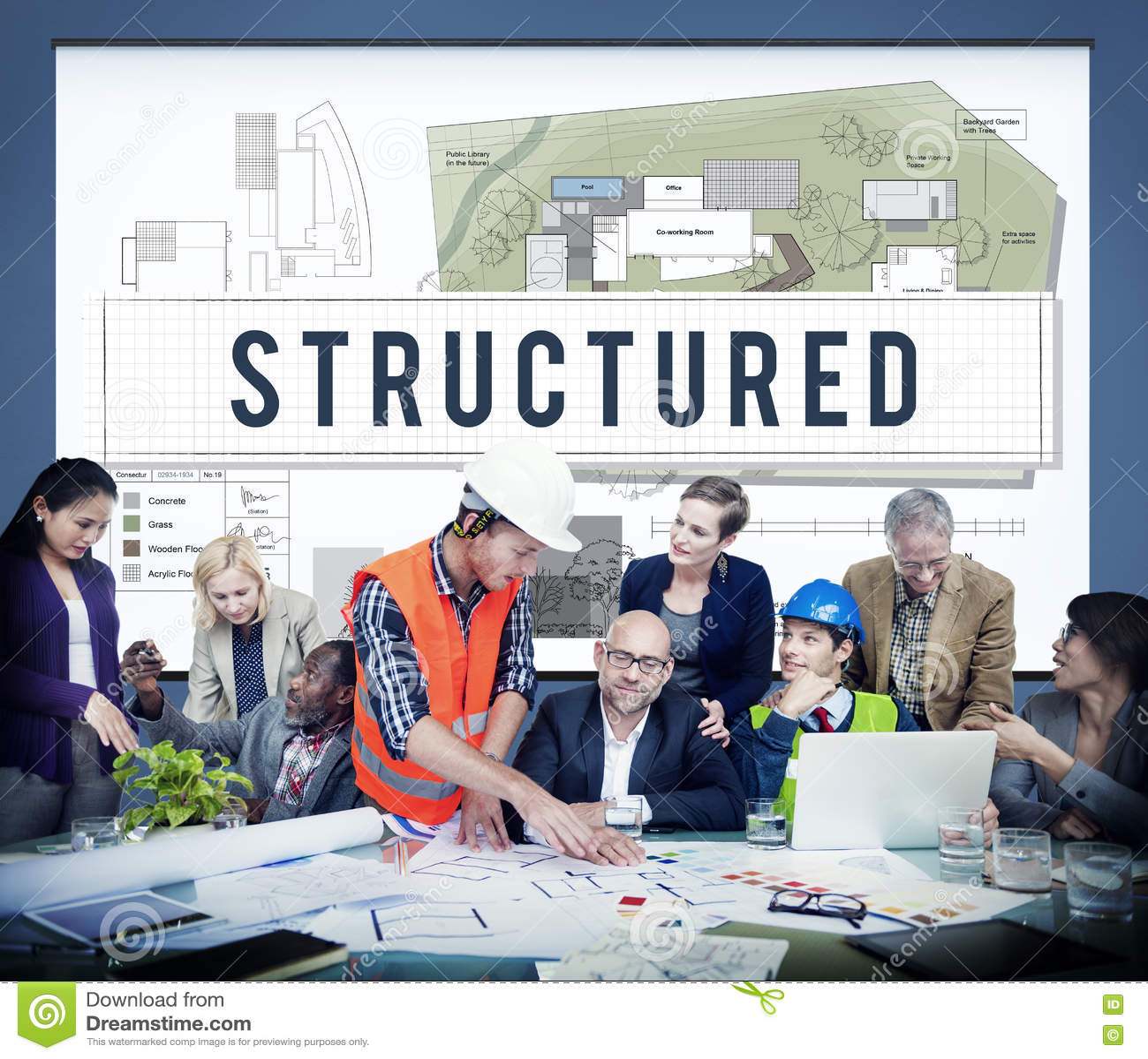 Structured Building Construction Design Plan Concept