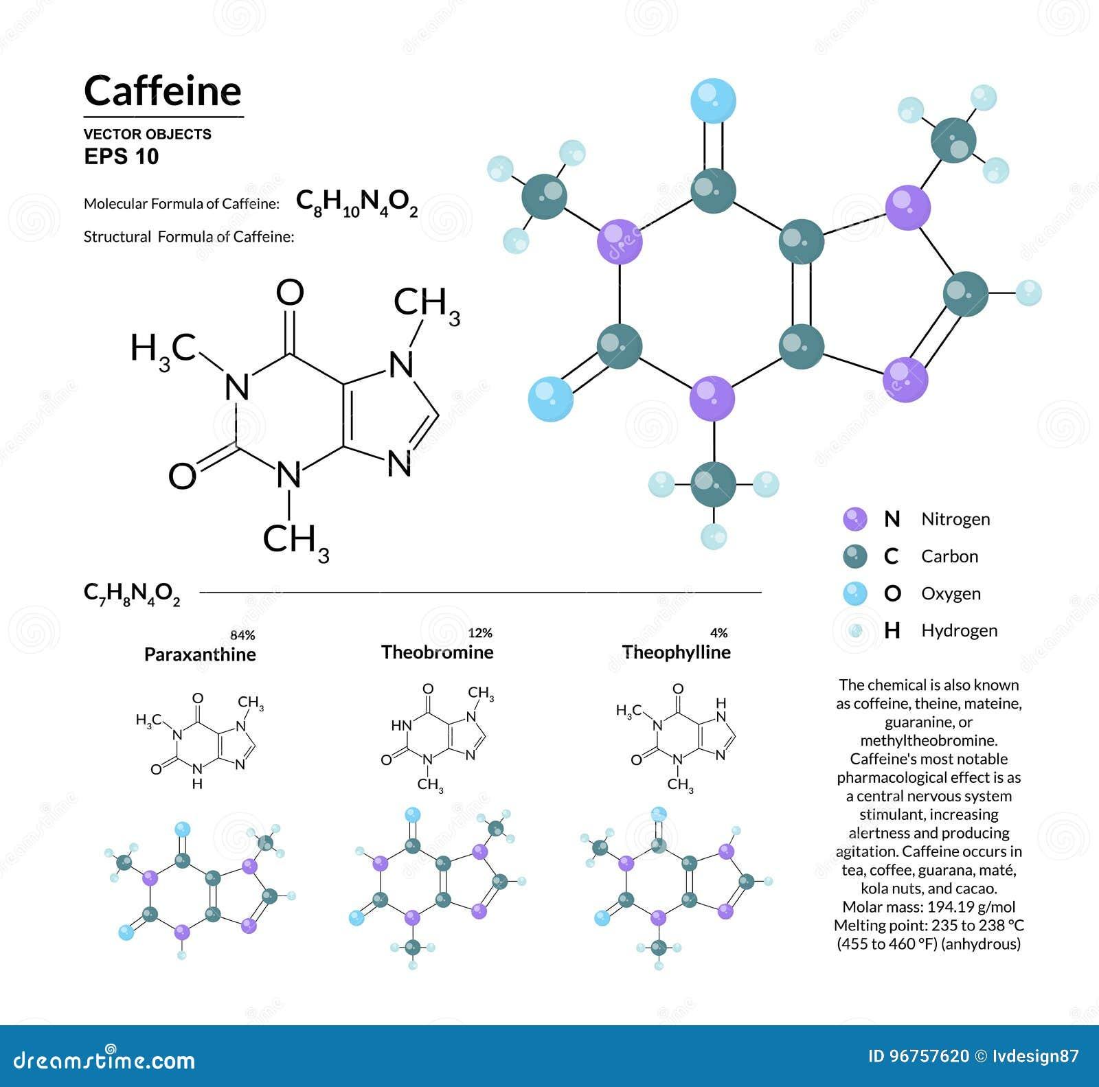 Structureel chemisch moleculair formule en model van cafeïne De atomen worden vertegenwoordigd als gebieden met kleurencodage